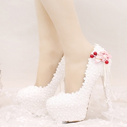 Shoespie White Platform Bridal Shoes
