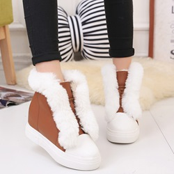 Shoespie Plain Round Toe Fur Snow Boots