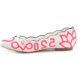 Shoespie White Bead Letter Print Flat Bridal Shoes