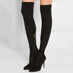 Flat Suede Thigh High Boots - Shoespie.com
