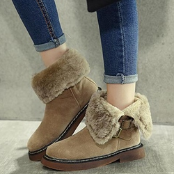 Shoespie Round Toe Ankle Buckle Snow Boots