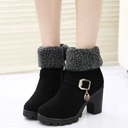 Shoespie Round Toe Lug Sole Chunky Heel Fashion Booties