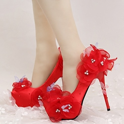Shoespie Red Flower Appliqued Platform Heel Bridal Shoes