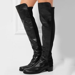 Shoespie Chic Black Chunky Heel Knee High Boots