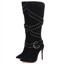 Shoespie Gorgeous Black Cross Wrap Rivets Knee High Buckle Boots
