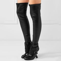 Shoespie Rock the World Black Buckle Wrap Over the Knee Boots