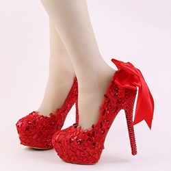 Shoespie Red Appliqued Platform Bridal Shoes