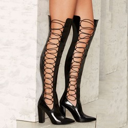 Shoespie Stylish Shine Black Side Lace Up Chunky Heel Knee High Boots