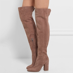 Shoespie stretch-suede Apricot Chunky Heel Knee High Boot