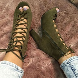 Shoespie Army Green Lace Up Sandals
