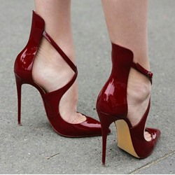 Shoespie Burgundy Cross Wrap Pointed Toe Stiletto Heel Court Shoes