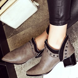 Shoespie Retro Rivets Block Heel Ankle Boots