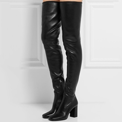 Shoespie Decent Warm Black Chunky Heel Over the Knee Boots