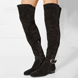 Shoespie Black Suede Ankle Buckle Over the Knee Boots