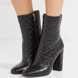 Shoespie Featuring Black Plaid Chunky Heel Fashion Booties
