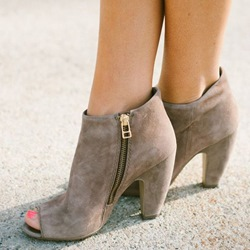 Shoespie Suede Open Toe Sandal Booties