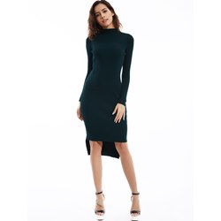 Plain Turtleneck Pullover Sweater Dress