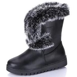 Shoespie Warm Round Toe Fur Snow Boots