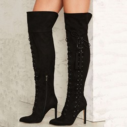 Shoespie Awesome Black Lace Up Knee High Stiletto Boots