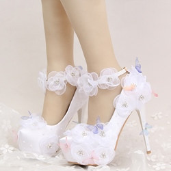 Shoespie Dreaming Mesh Floral Appliqued Bridal Shoes
