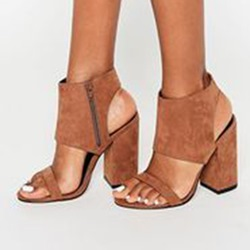 Shoespie Brown Side Zipper Block Heel Sandals