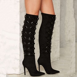 Shoespie Amazing Black Rhinestone Knee High Stiletto Boots