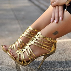 Shoespie Sexy Golden Strappy Sandals