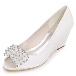 Shoespie Multi Color Peep Toe Wedge Bridal Shoes