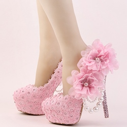 Shoespie Large Flower Appliqued Bead Bridal Shoes