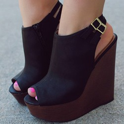 Shoespie Black Slingbacks Wedge Sandals