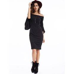 Slash Neck Ruffle Sleeves Bodycon Dress