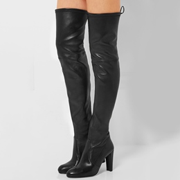 Shoespie Chic Black Stretch PU Back Tie Over the Knee Boots