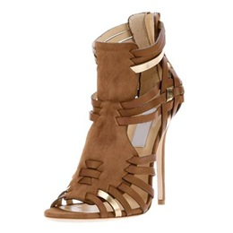 Shoespie Brown Zipper Braided Stiletto Heel Sandal