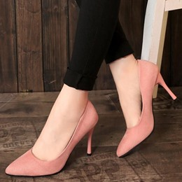 Shoespie Simply Pink Middle Heel Bridal Shoes