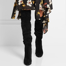 Shoespie Black Buckle Wrap Knee High Boots