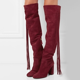 Shoespie British Red Tassel Chunky Mid Heel Knee High Boots