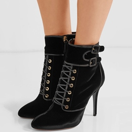 Shoespie Gorgeous Black Lace Up Wrap Buckle Fashion Booties