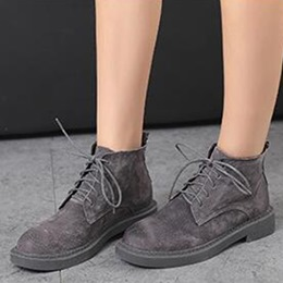 Shoespie Solid Color Lace Up Flat Boots