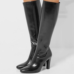 Shoespie Classy Plain Black Chunky Mid Heel Wide Boots