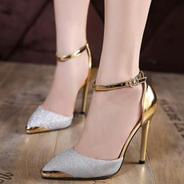 Shoespie Cap Toe Ankle Wrap Stiletto Heel Court Shoes
