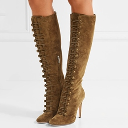 Shoespie Featuring Suede Button Hoop Knee High Stiletto Boots