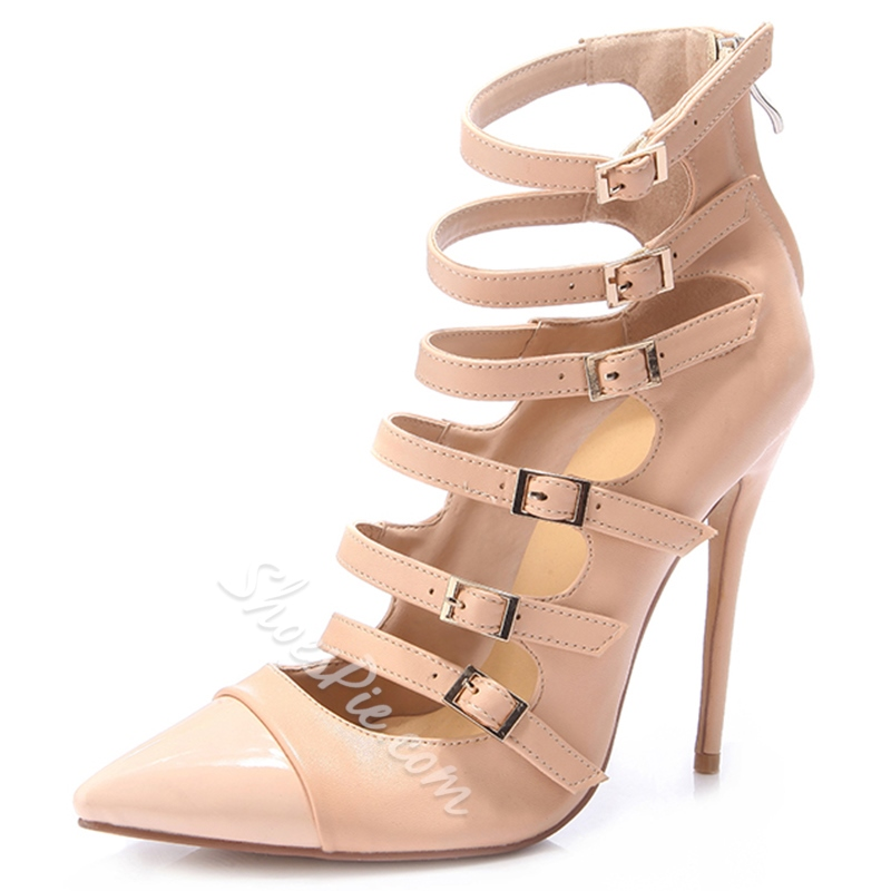 Shoespie Featuring Light Apricot Buckle Stiletto Heels Shoespie