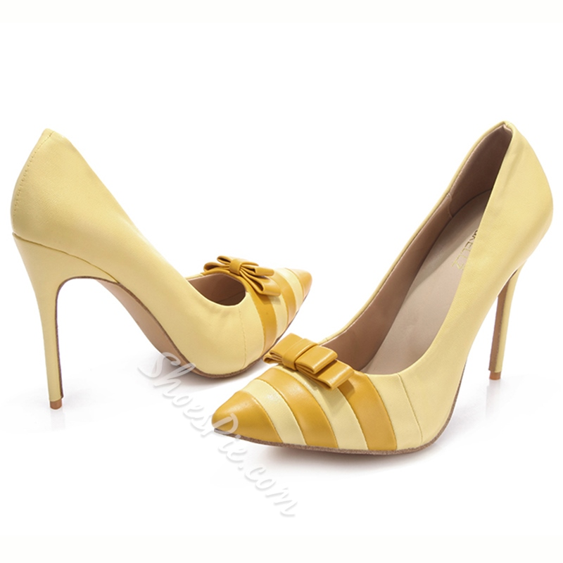 Shoespie Chic Yellow Bow Knot Stiletto Heel Shoes