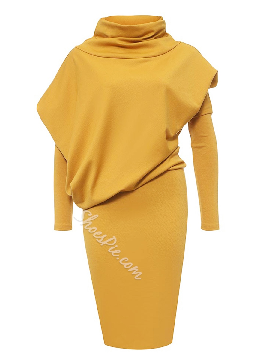 Shoespie Plain Turtleneck Pullover Bodycon Dress