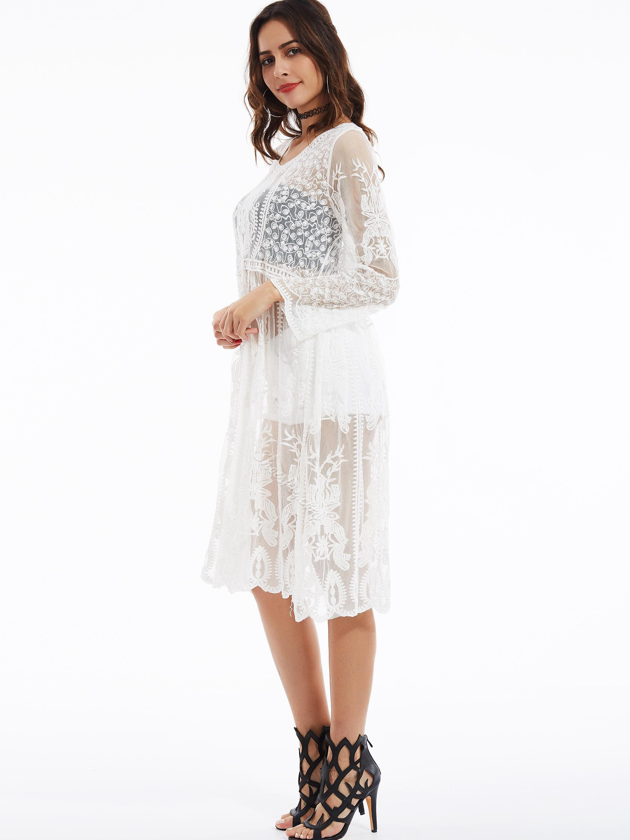 Shoesspie Round Neck Flare Sleeves See-Through Lace Dress
