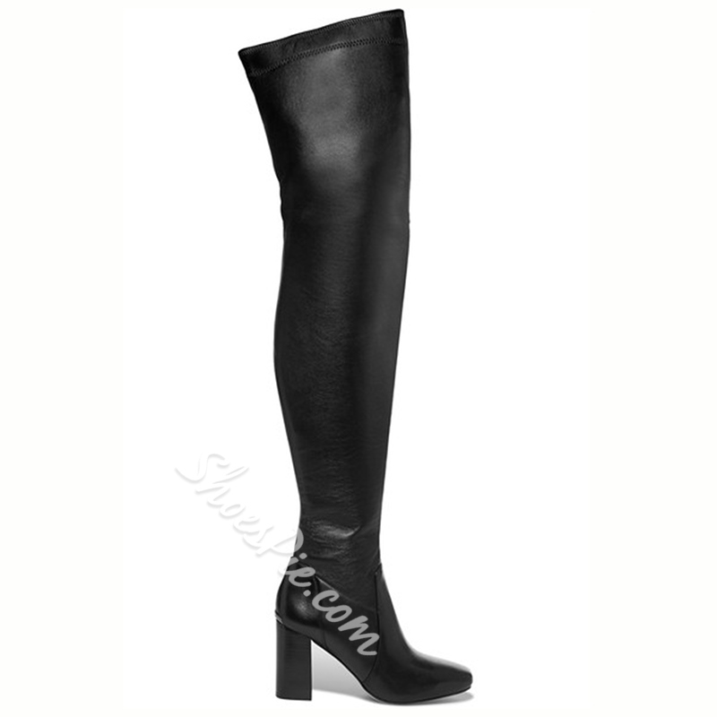Shoespie Awesome Plain Black Over the Knee Boots