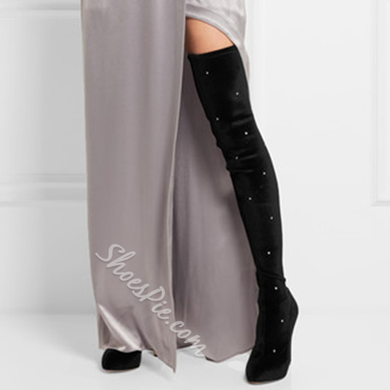 Shoespie Featuring Luminous Rivets Embellished Over the Knee Boots