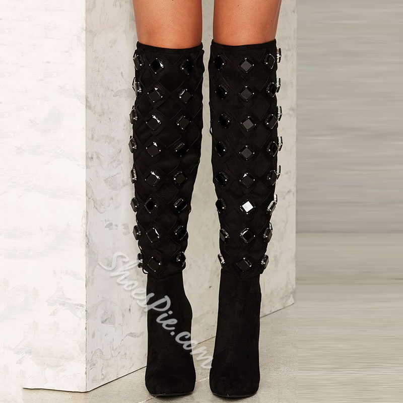 Shoespie Black Rhinestone Knee High Stiletto Boots