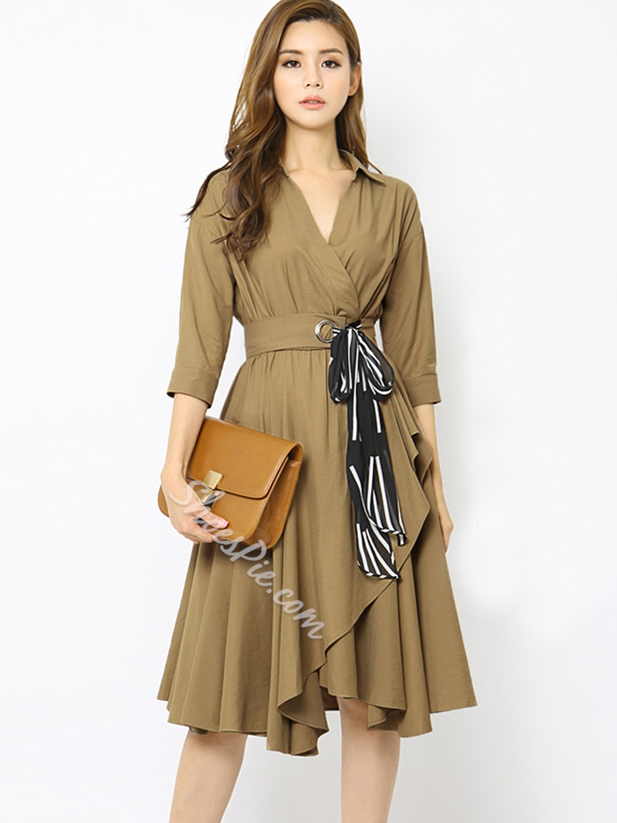 Solid Color Plain V-Neck A-Line Day Dress
