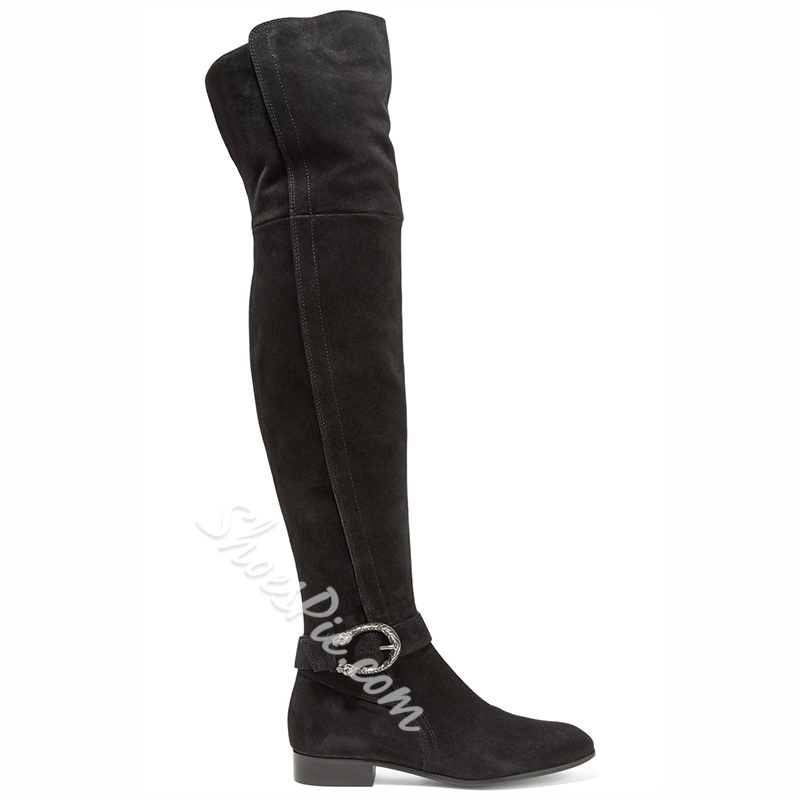 Shoespie Black Suede Ankle Buckle Over the Knee Boot